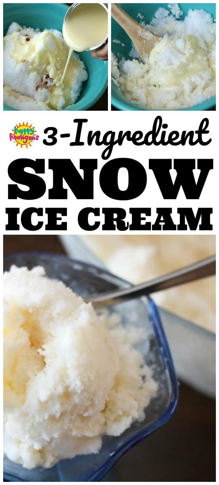 Delicious 3-Ingredient Snow Ice Cream #snowicecreamrecipe
