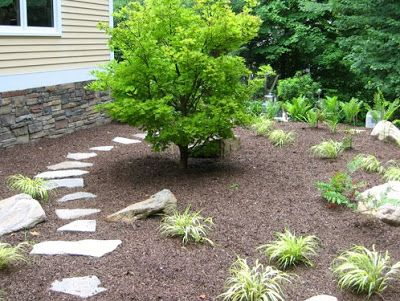 jardn pequeo con piedras y plantas