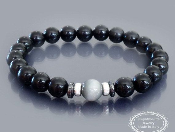 Black tourmaline bracelet Men black bracelet Sterling silver