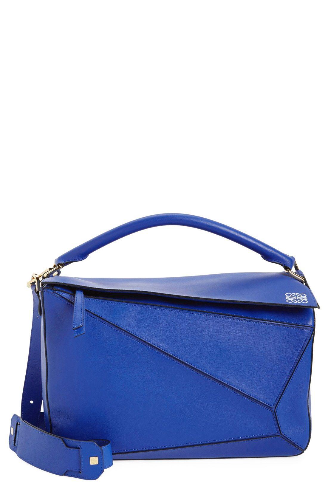 Loewe 'Large Puzzle' Leather Bag Royal Blue Leather Handbag Tote ...