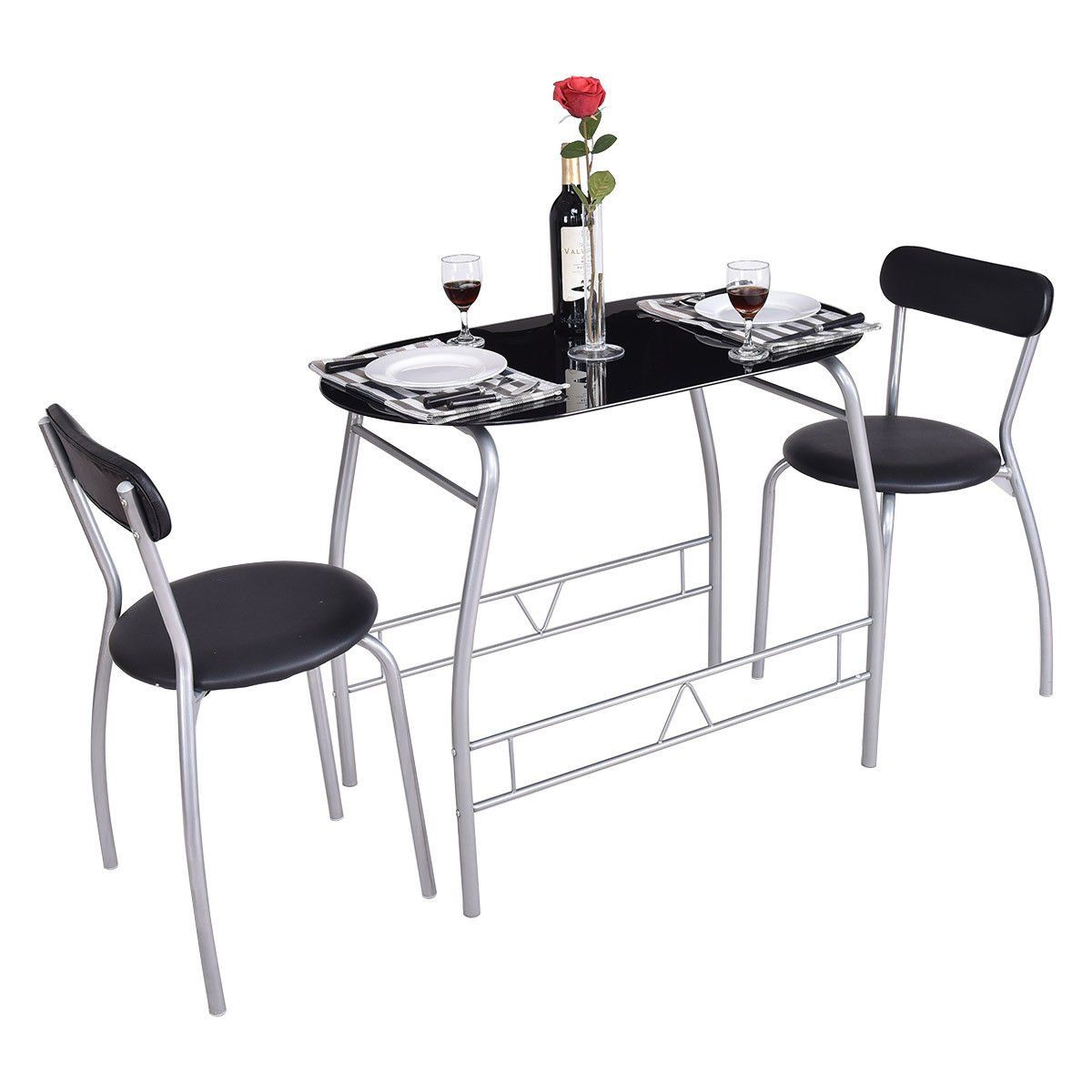 Global House Products GHP 8Pcs Steel Chairs with Tempered Glass