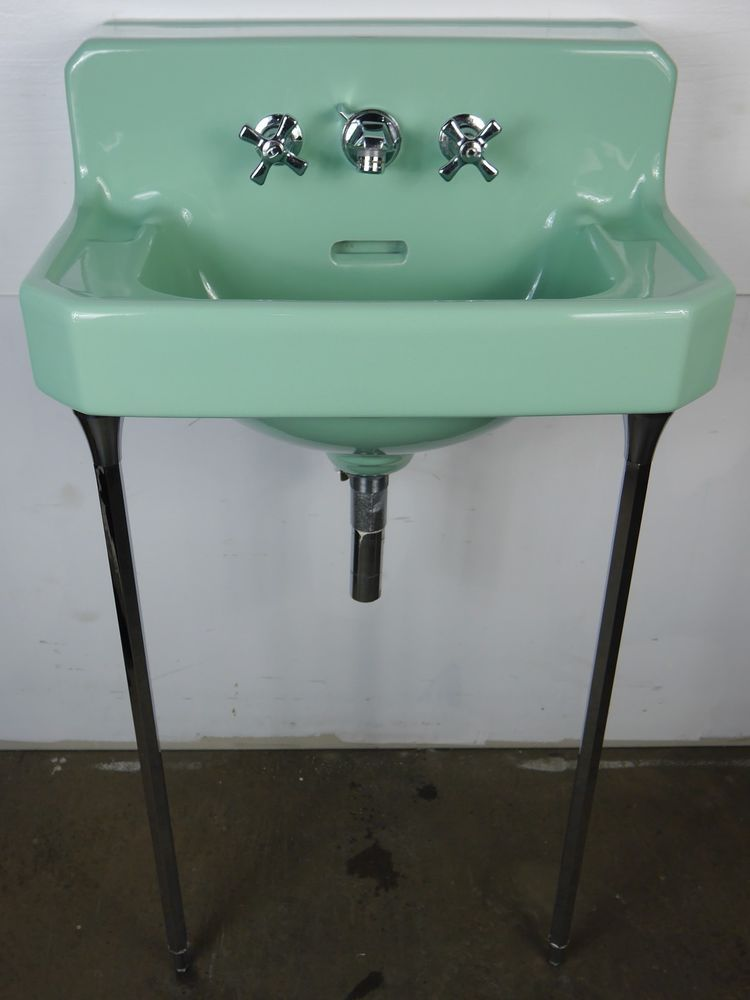 Antique Vintage American Standard Bathroom Sink 1950\'s Ming Green ...