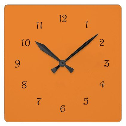 Black Script Numbers On Orange Wall Clock - script gifts template - clock templates