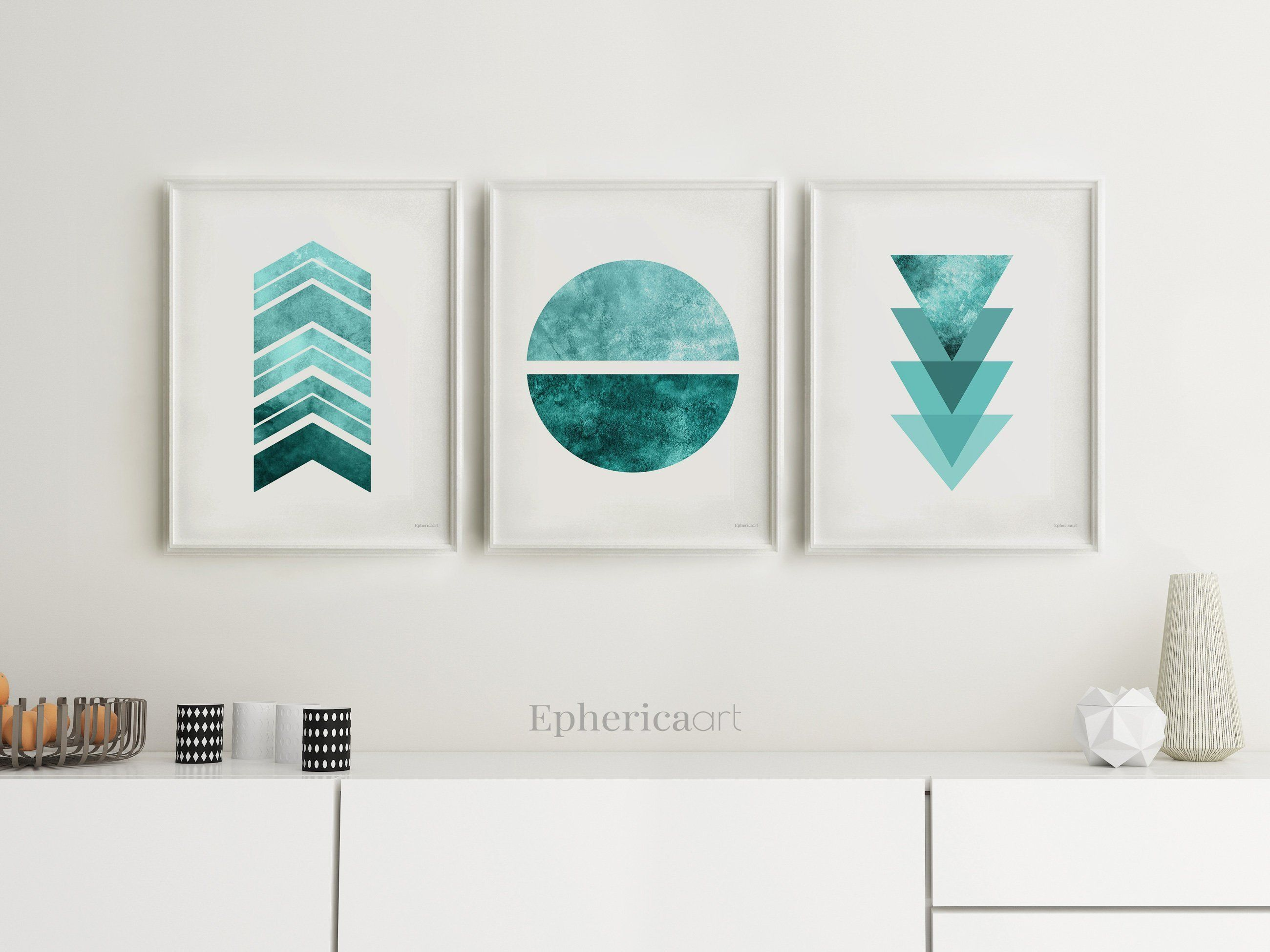 Geometric Art Set Modern Minimalist Set Of 3 Posters Scandi Etsy Teal Wall Decor Grey Wall Art Printable Art Set