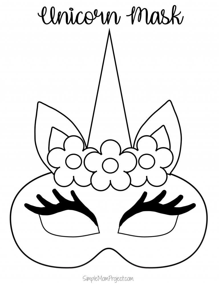 Unicorn Face Masks With Free Printable Templates Simple Mom Project In 2020 Unicorn Coloring Pages Unicorn Printables Unicorn Mask