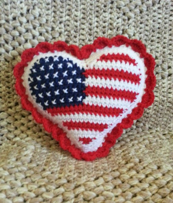 American Flag Heart Crochet Pillow This is the last one left -- sale ...