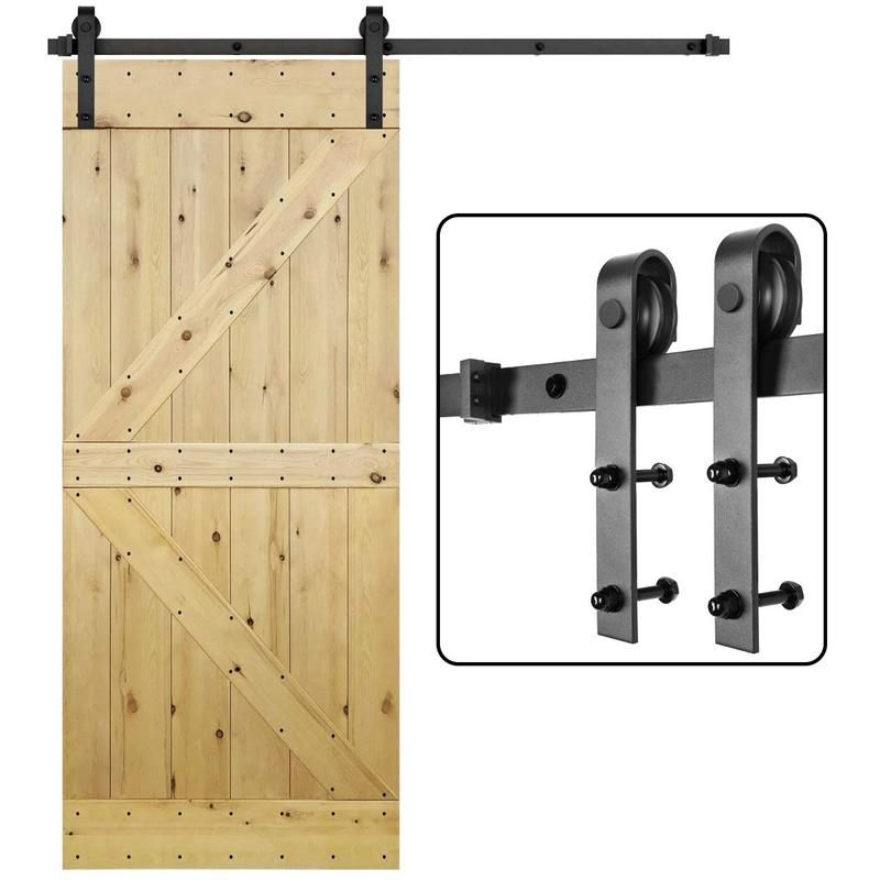 Heavy Duty Antique Sliding Barn Door Hardware Kit Single Barn Door Track Kit 5 12 Ft With Images Sliding Barn Door Hardware Double Sliding Barn Doors Sliding Wood Doors
