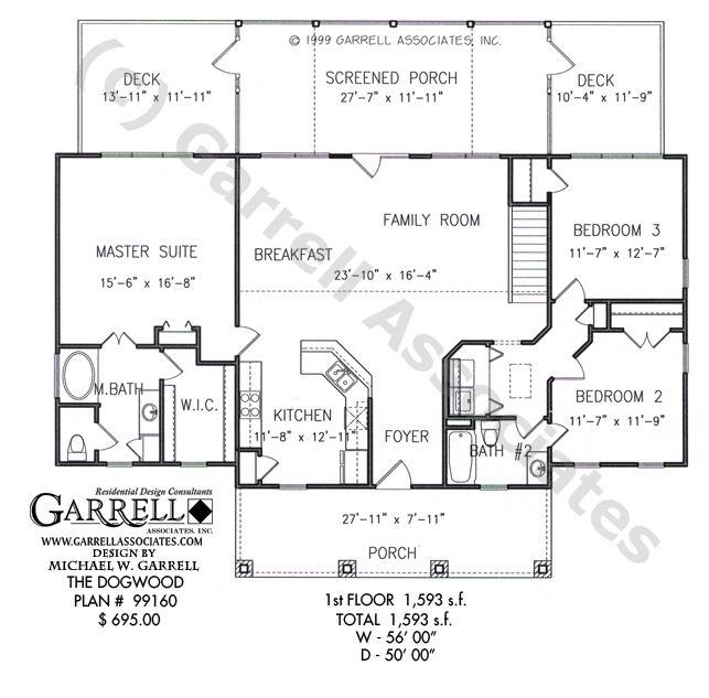 Dogwood House Plan 99160, 1st Floor Plan, Ranch Style House Plans ...