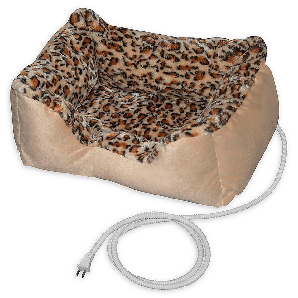 Padded Heated Pet Bed In Leopard Heated Pet Beds Heated Cat Bed