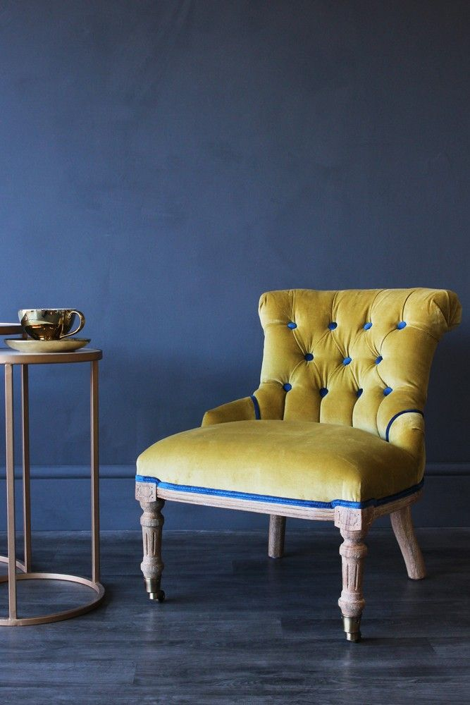 Vintage Style Little Barcelona Velvet Chair Yellow Statement Chairs Furniture