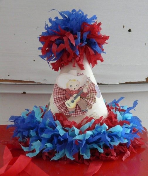 Handmade Vintage HAPPY BIRTHDAY Paper Party Hat