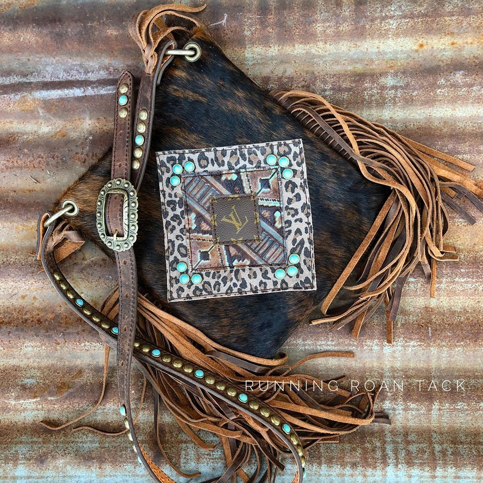 232a63b149e9 Salvaged LOUIS VUITTON Cross Body Handbag in Dark Brindle Hair On Cowhide  Accented with Turquoise Aztec