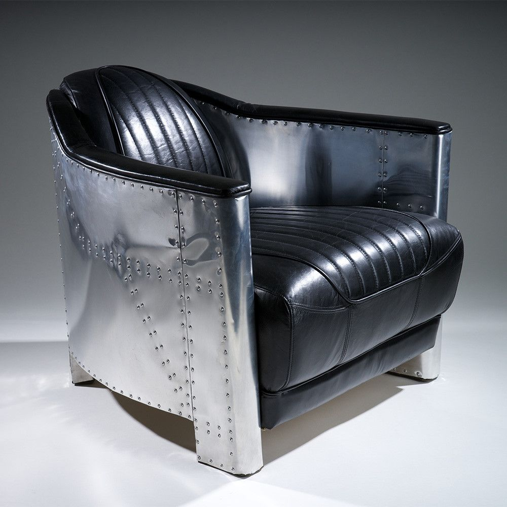 Lovely Avia Black Top Grain Leather Club Chair