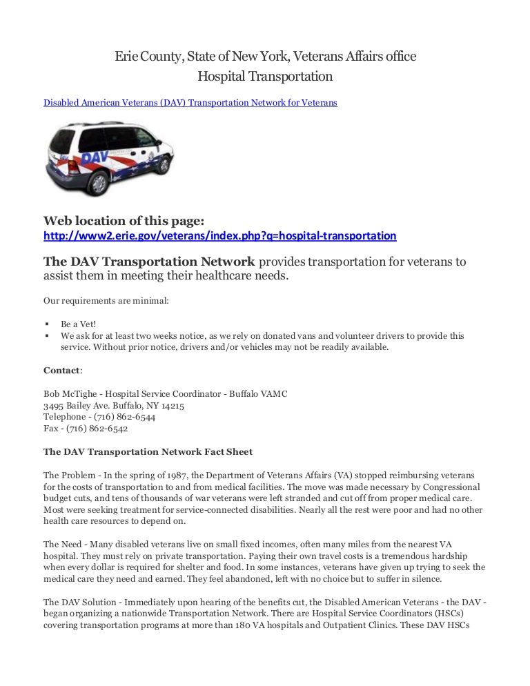 Erie county ny veterans transportation rules erie county
