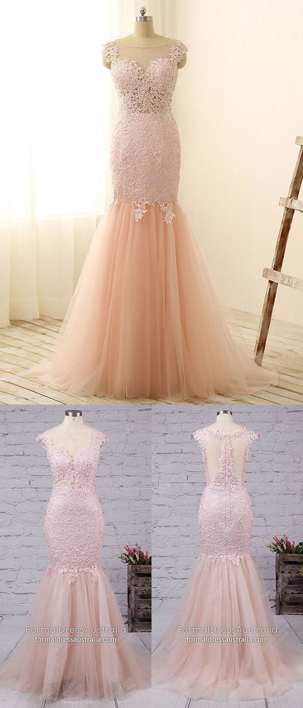 Pink formal dresses long mermaid prom dresses for teens tulle