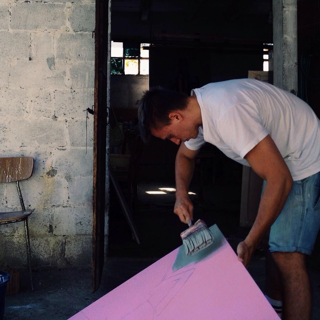 Artist at work! @interno99 #peterofgood #italianartist #Arte #painting #pink #contemporaryart #atelier #interno99 #piergiorgiodelben #saramoretto #paint #artist #artoftheday #artofliving