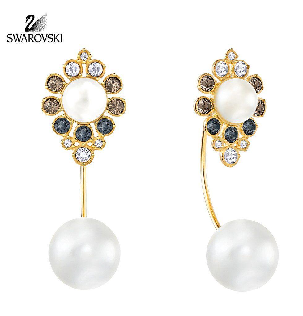 09c7b3cdece05 Swarovski Color Crystal Pearl Pierced Earrings EAST Gold Plated ...