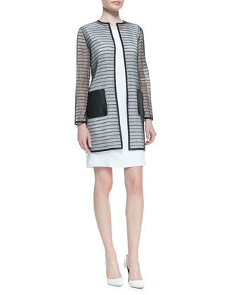 Soho Rectangular Mesh Coat & Sleeveless Croc Jacquard Gramercy Dress by Elie Tahari at Neiman Marcus.