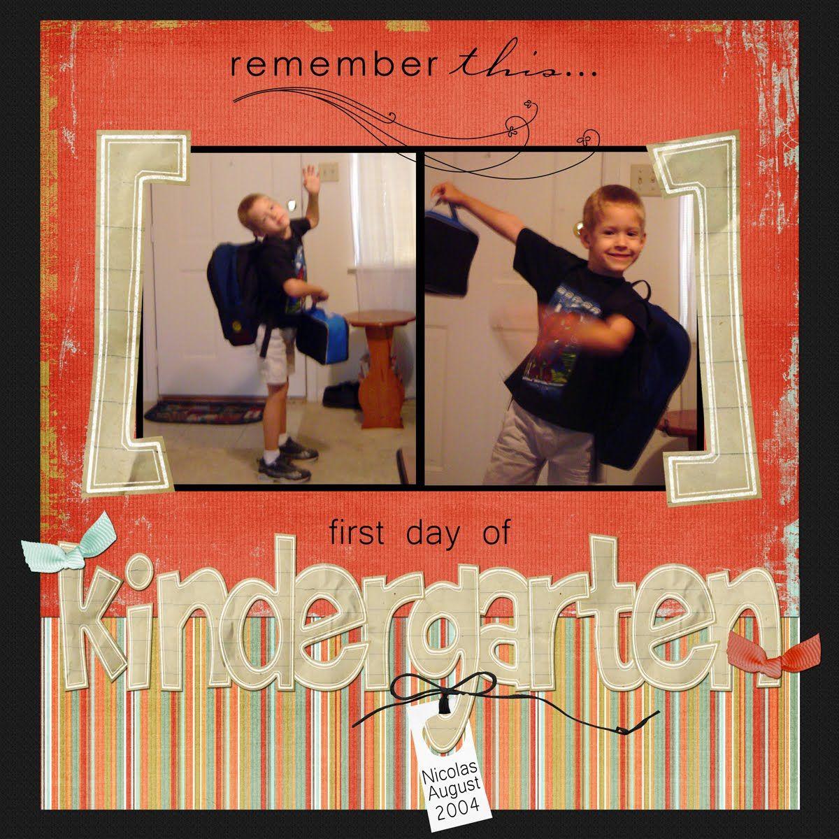 Scrapbook ideas kindergarten - First Day Of Kindergarten Grandkids Schoolfirst Dayschool Daysscrapbook Ideaskindergarten