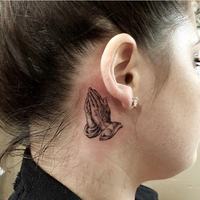 Praying Hands Tattoo Behind Ear By Freddy Negrete Jpg 640 640 Praying Hands Tattoo Hand Tattoos Small Hand Tattoos