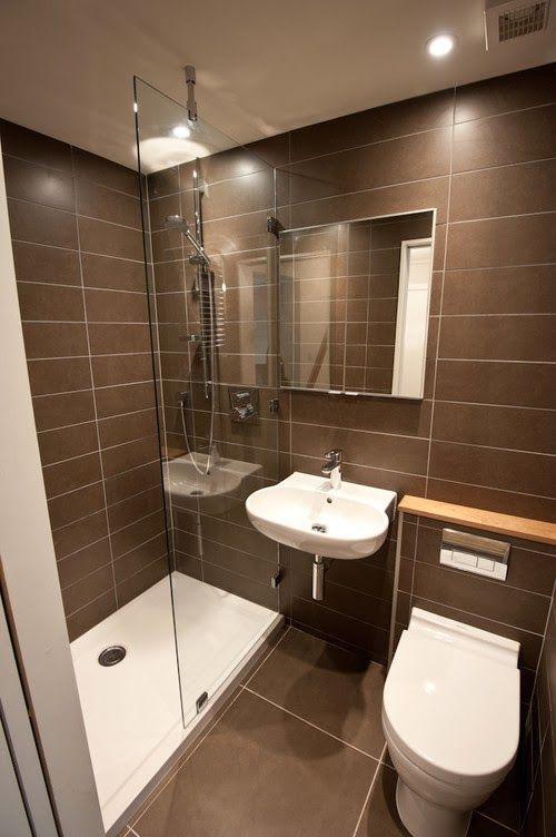 Banheiro pequeno marrom com box sweet home banheiro for Pisos modernos pequenos