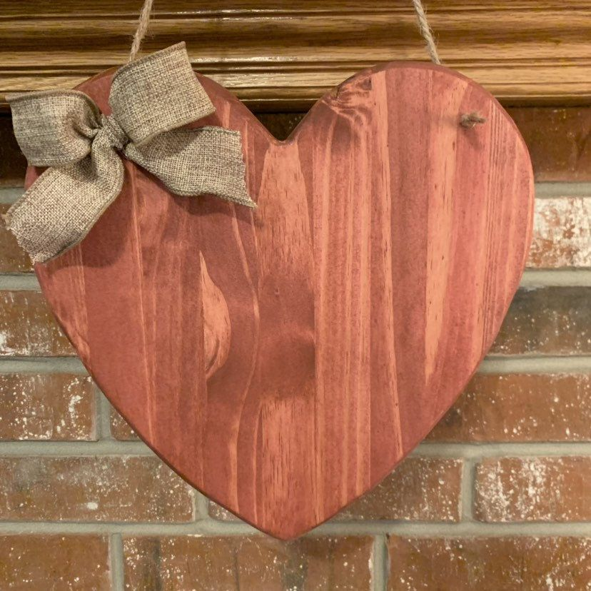 Excited To Share This Item From My Etsy Shop Hanging 12x12 Heart Wall Decor Personalized Wooden Heart 12x12 Finish Heart Wall Decor Wooden Hearts Heart Wall