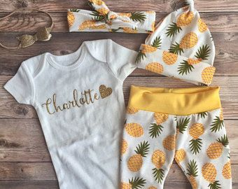 19ece4b76 Hello World Pineapple Gold Glitter Coming Home Outfit
