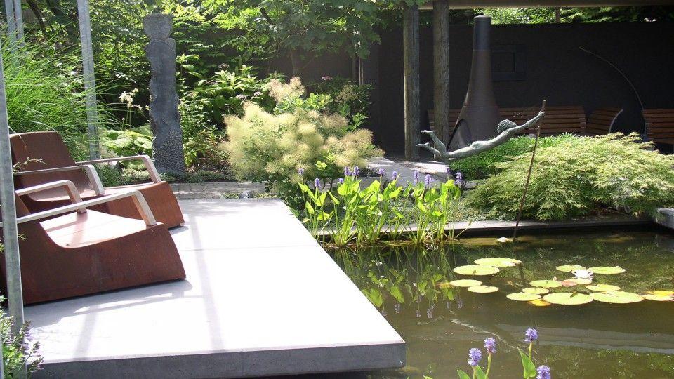 Van sleeuwen hoveniers patio met vijver tuin pinterest