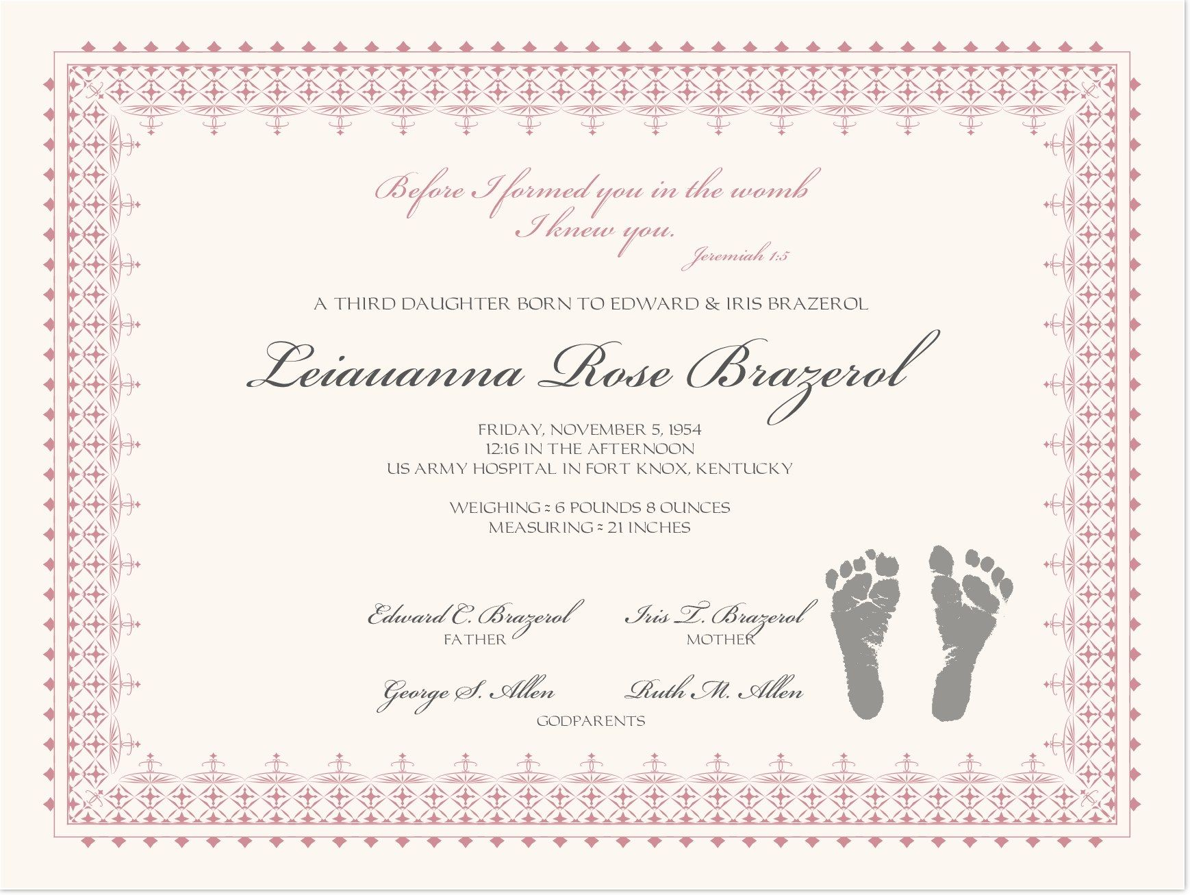 Footprints Baby Certificates  Baby    Birth