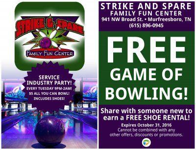 Free Game Of Bowling Murfreesboro Strike And Spare Murfreesboro Family Fun Someone New