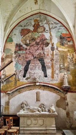 Eglise Saint Denis De Lassay Sur Croisne Fresque De Saint Christophe Et Gisant De Philippe Du Moulin Le Moulin Loir Et Cher Sologne