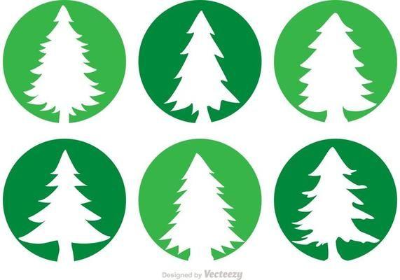 Cedar Trees Circle Vector Icons Tree Icon Vector Art Design Cedar Trees