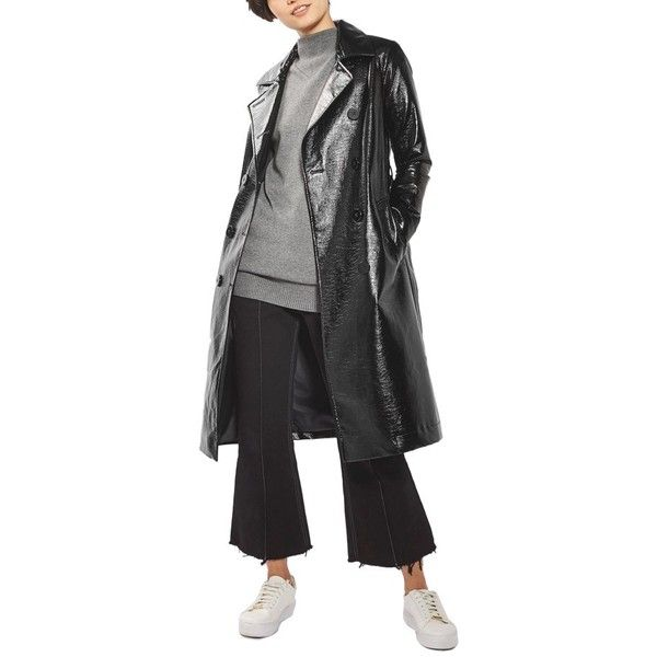 Women's Topshop Vinyl Trench Coat ($210) ❤ liked on