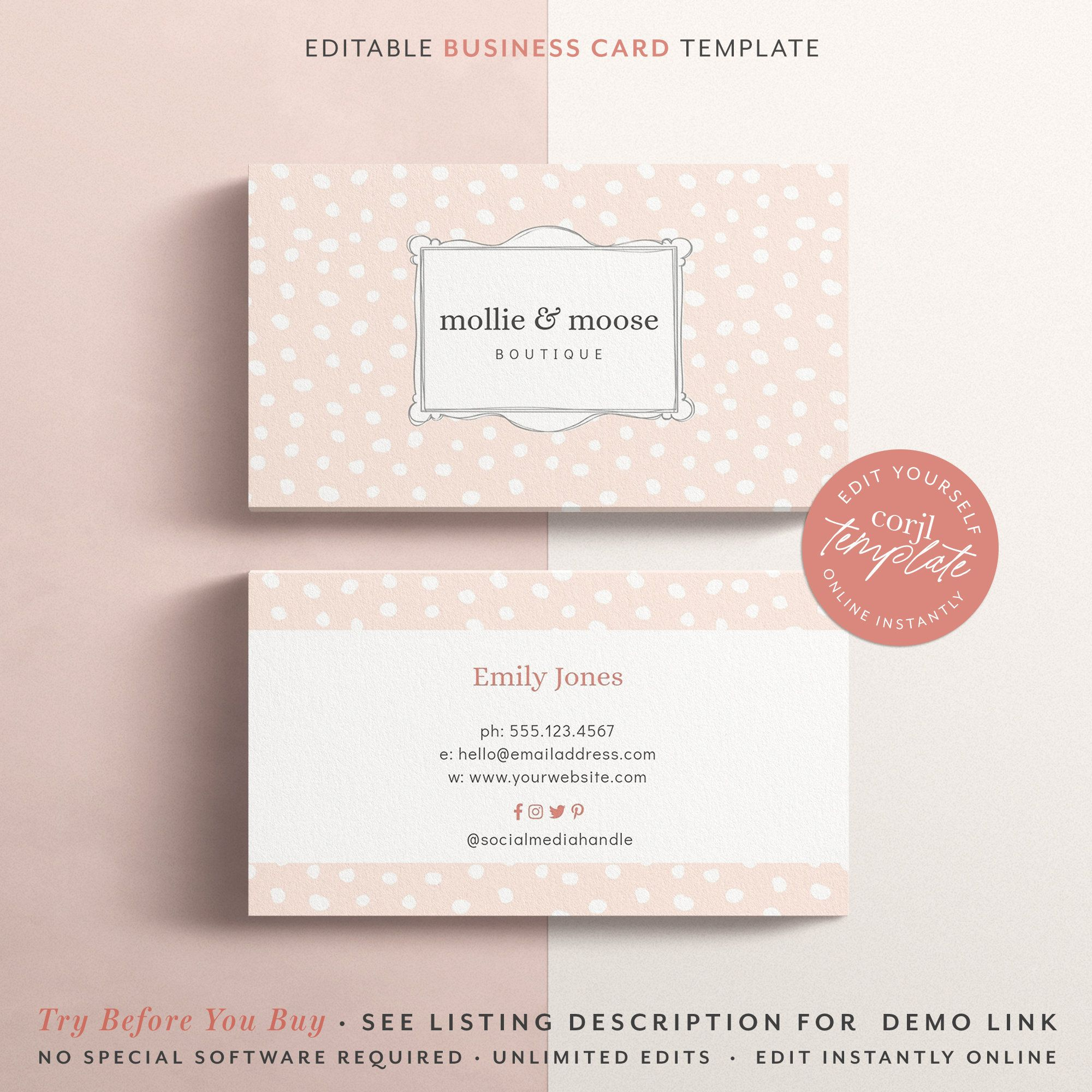 Photoshop Template Business Card Instant Download Printable Business Card Whimsical Frame Card Printable Business Cards Frame Card Business Card Template