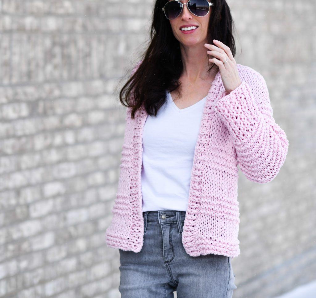 Cotton Candy Easy Knit Cardigan Pattern | Knit cardigan