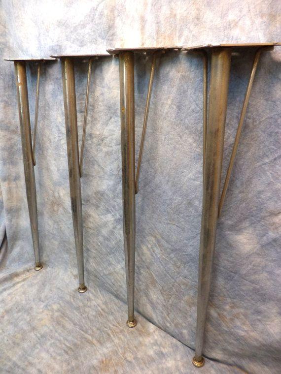 4 Metal Table Legs Mid Century Industrial Age Office School Cafeteria Vintage N Metal Table Legs Vintage Metal Table Table Legs