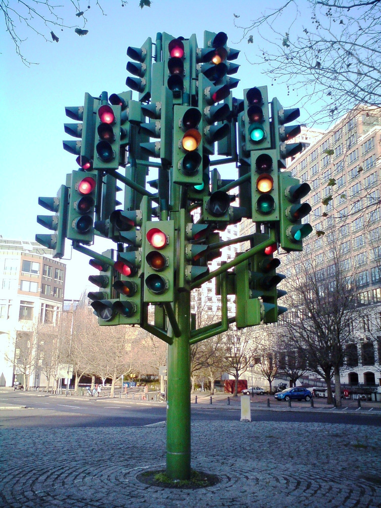 Facing A Red Light Street Art Traffic Light Sculpture Installation