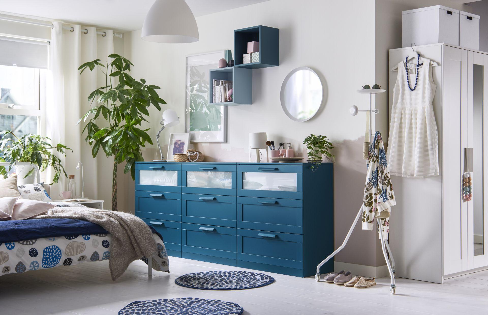 BRIMNES Ladekast 3 lades, donker groenblauw, frosted glas   Ikea ...
