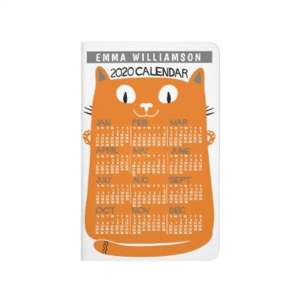 2020 Year Calendar Midcentury Orange Cat Bullet Journal | Zazzle.com