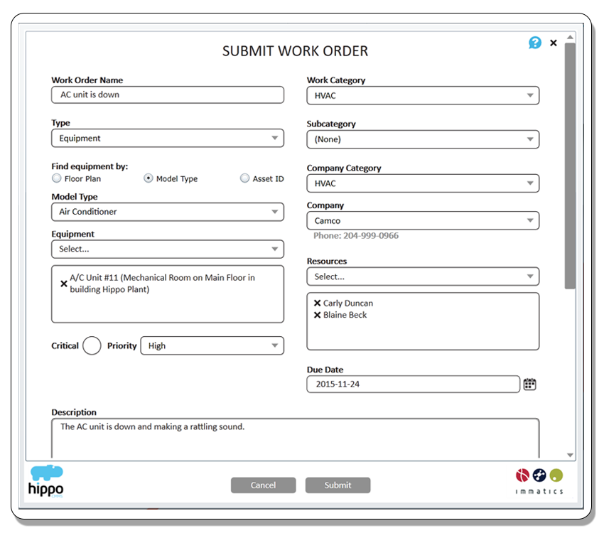 WORK ORDER MANAGEMENT: Hippo CMMS uses simple work order forms to ...