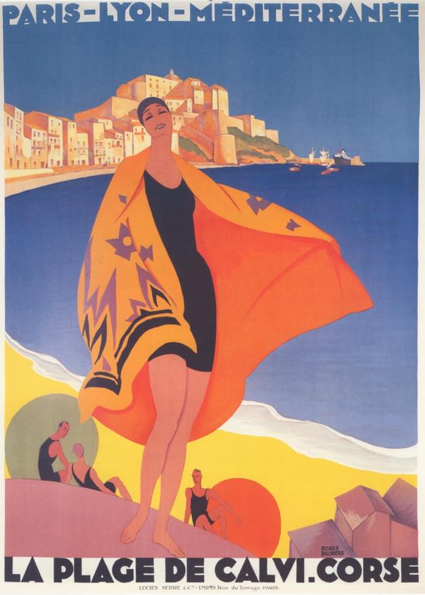 Poster Affiche Calvi Corse Affiche Poster Vintage Voyage Art Deco 30/'s