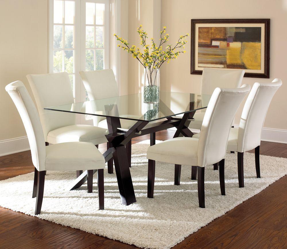 Berkley glass top dining table in dark espresso cherry dining room
