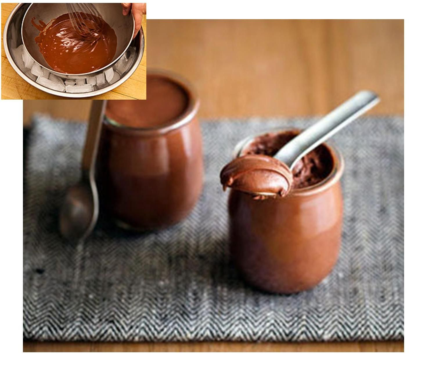 Chocolate Mousse - Just Chocolate and Water, Melt the chocolate and water together, cool it over an ice bath, and whisk till you have mousse - it works I SWEAR!! :)