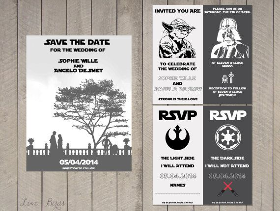 Wedding invitation Set Star Wars Save the Date Invitation RSVP
