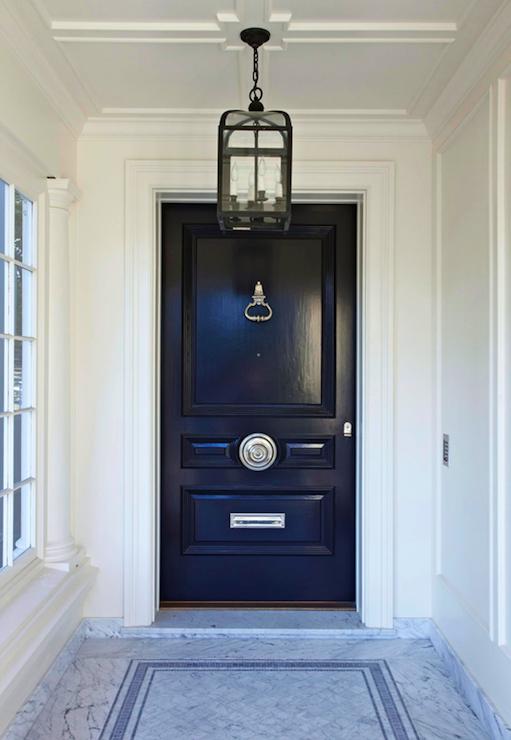 Glossy Black Door Transitional Home Exterior Benjamin Moore Black Beauty Massucco Warner Miller Navy Front Door Front Door Hardware Black Front Doors