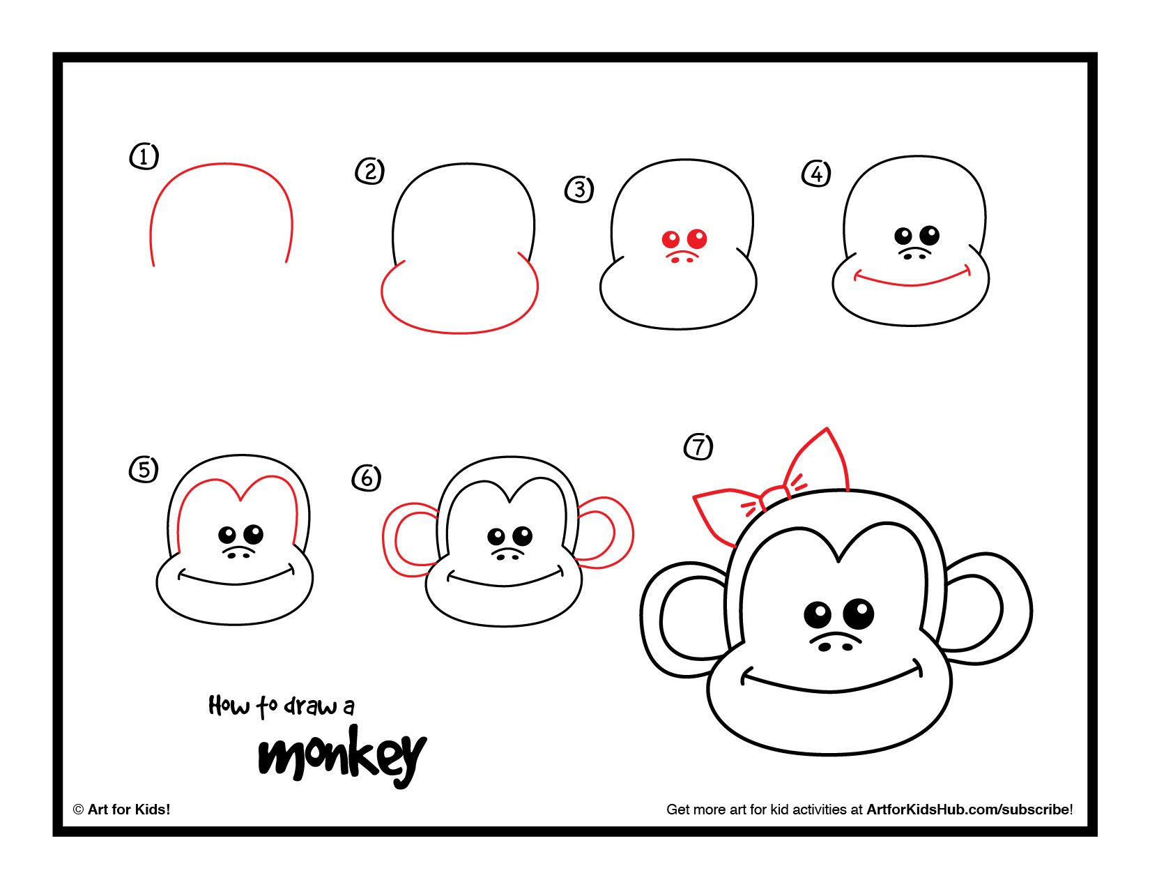 How To Draw A Monkey - Art For Kids Hub - | Free printable ...