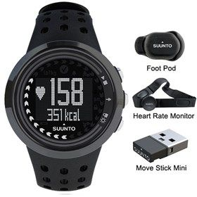 Suunto M5 Mens Run Pack All Black with Heart Rate Monitor, Foot Pod & Move Stick is the perfect watch for health enthusiasts.