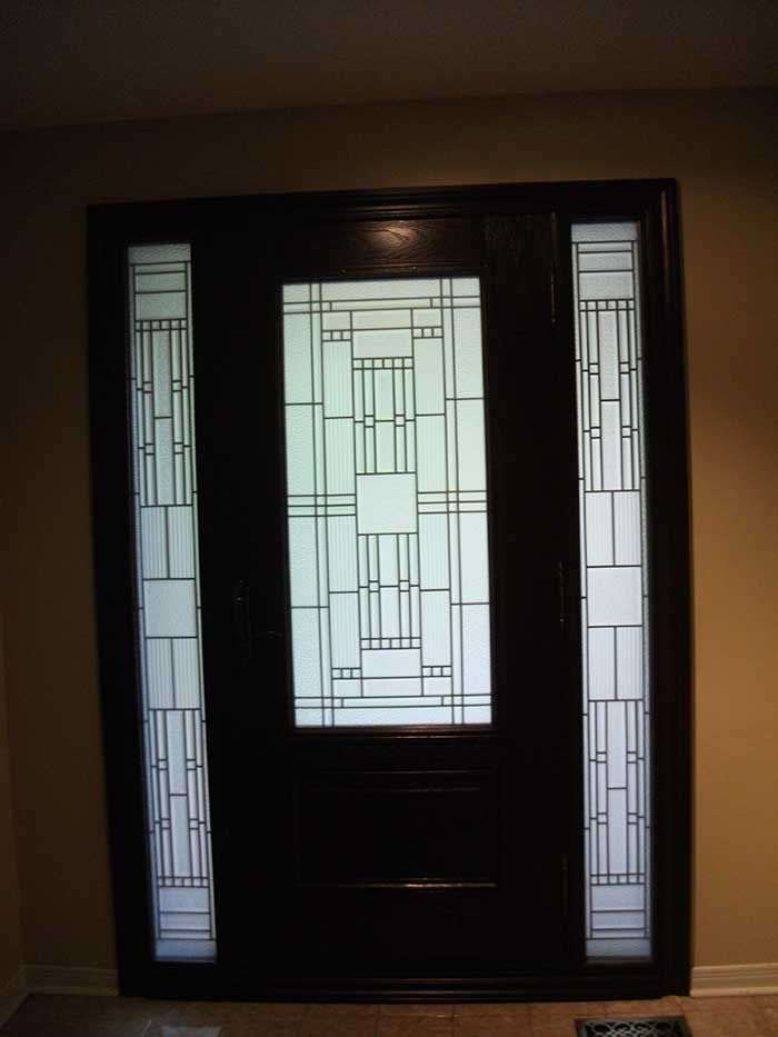 Stained glass front entry door with side panels bing for Exterior side entry doors