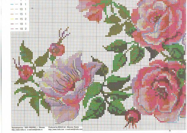 Вышивка крестом схема девочка с цветами