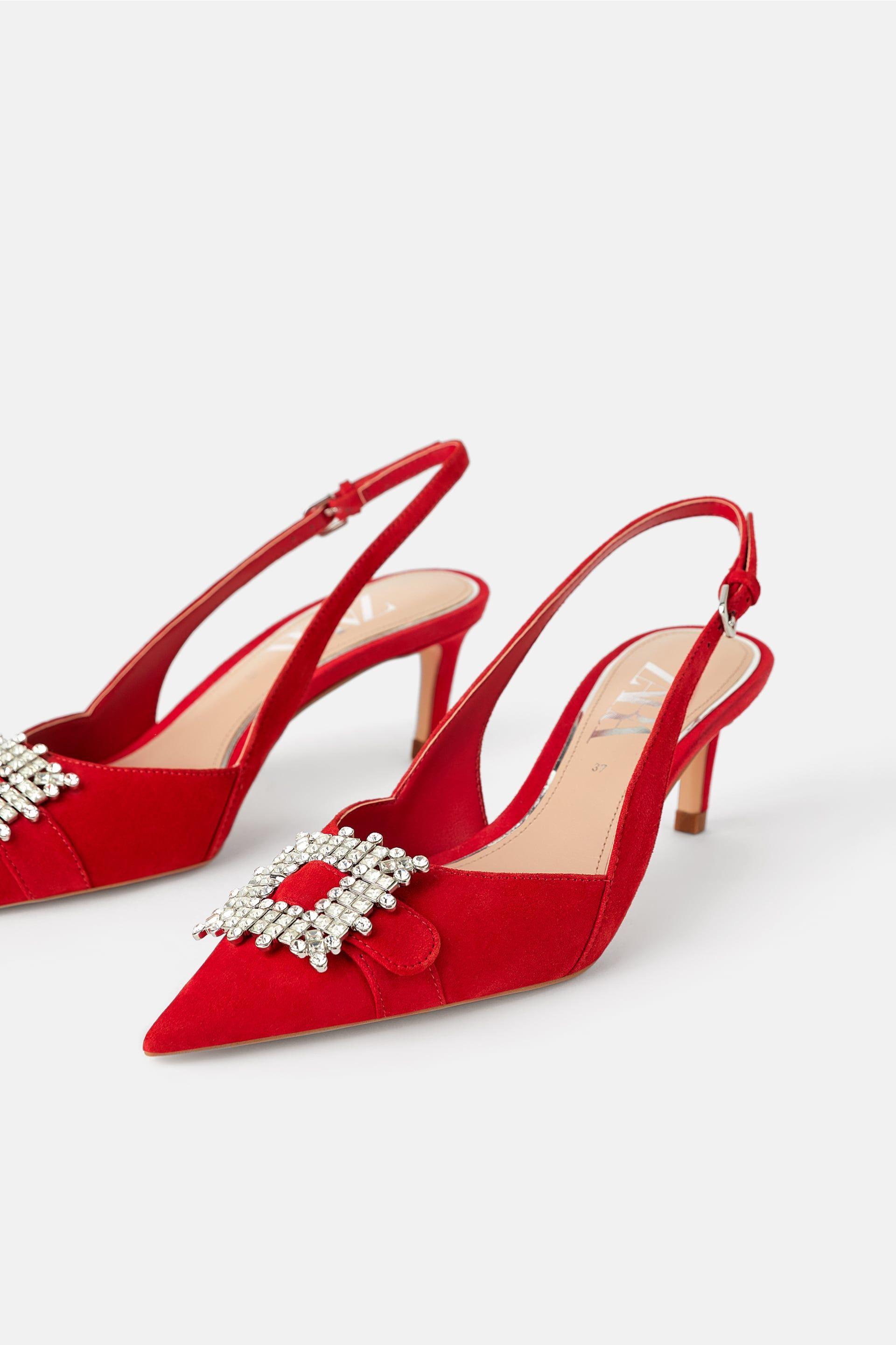 Leather Mid Heel Slingback Shoes With Brooch New In Woman Zara United Kingdom Damskor Slingback Kvinnoskor